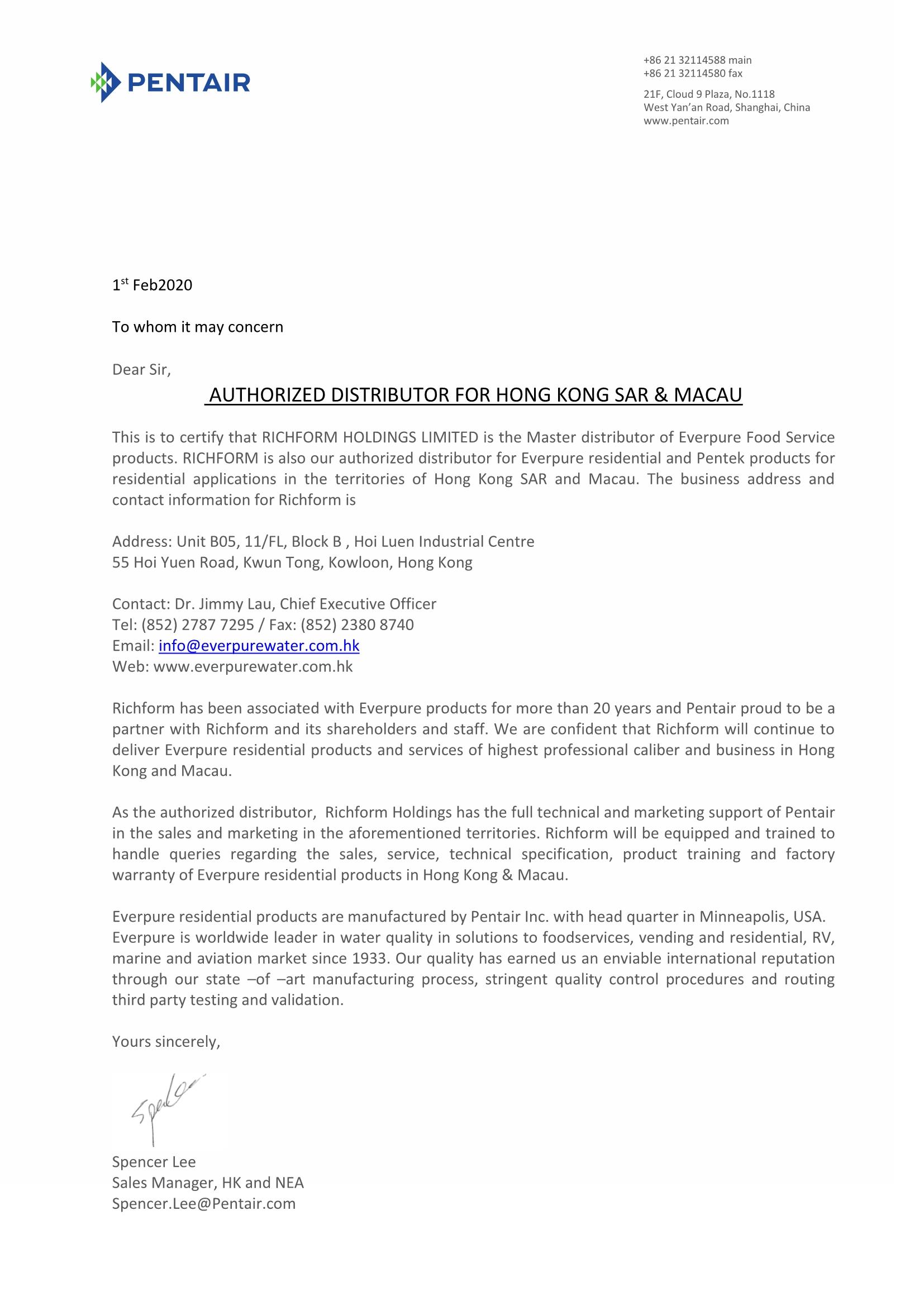 Authorized Distributor for Hong Kong Sar & Macau
