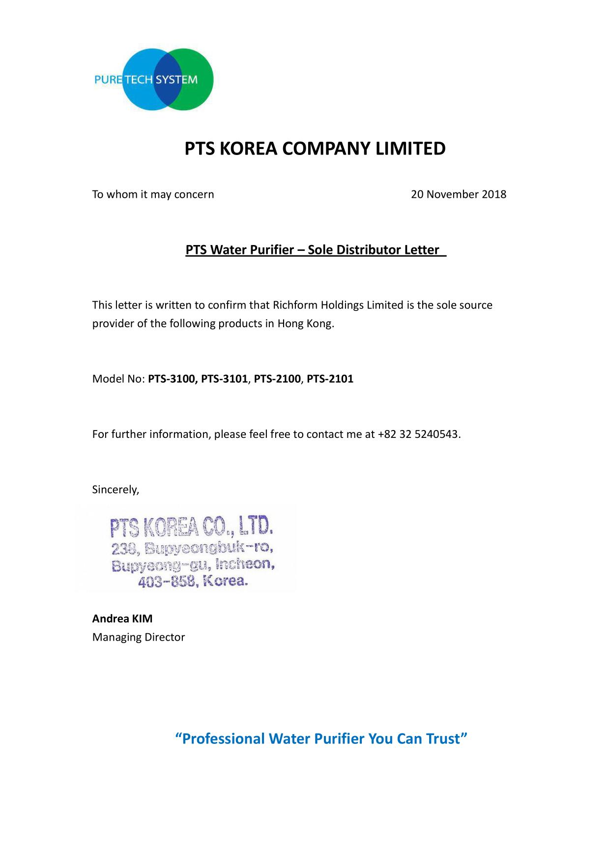 PTS Water Purifier - sole Distributor letter